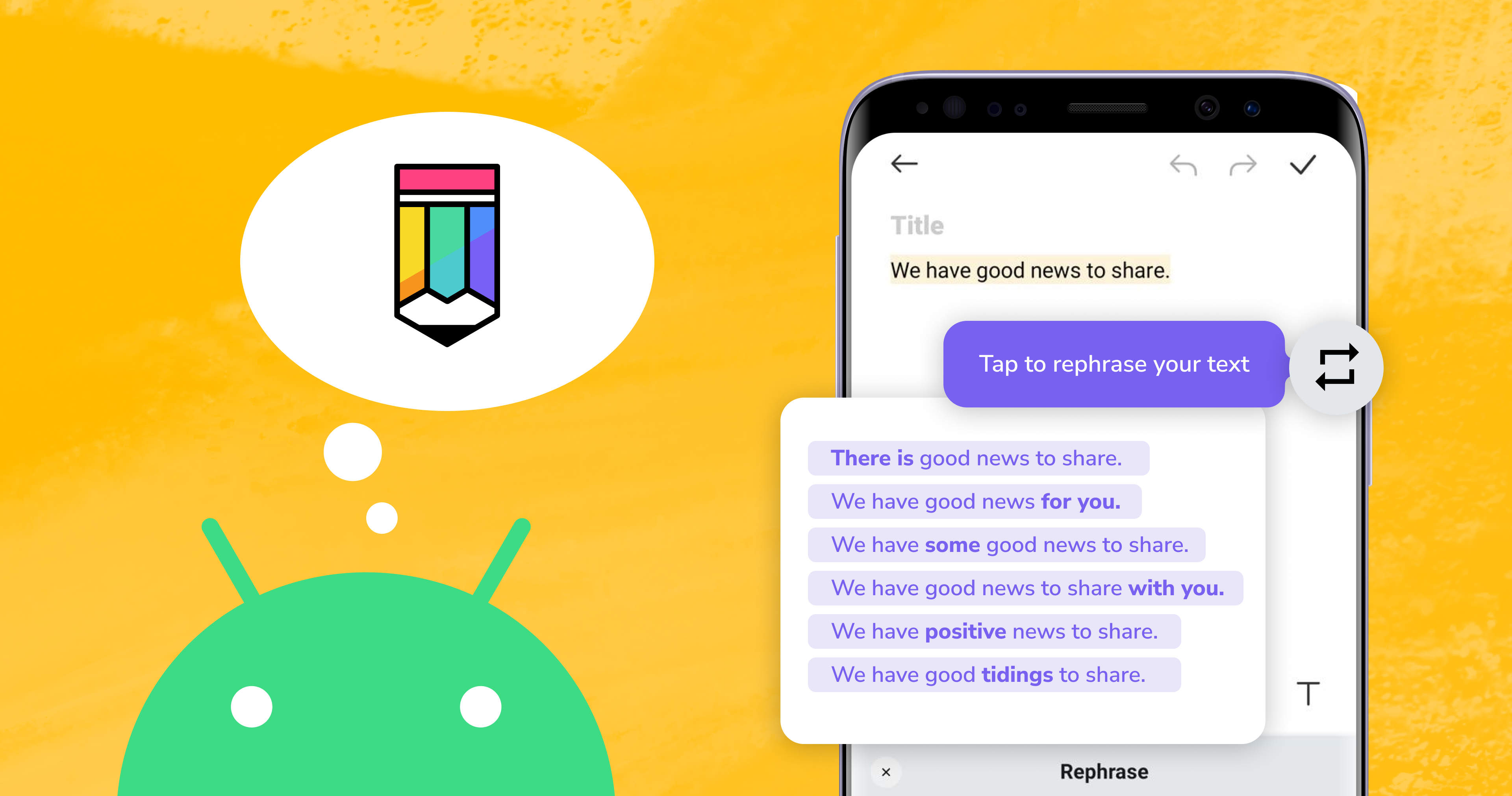 Meet Linguix Paraphrasing on Android: Rewrite and Enhance Any Sentence on Mobile